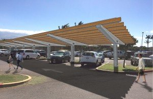 Example of a ground mount PV system via a visually appealing carport installation.